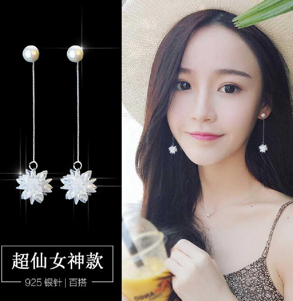優雅百搭氣質款珍珠水晶冰花長款耳環/耳針款