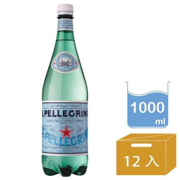 【聖沛黎洛S.P. 】天然氣泡礦泉水 瓶裝(1000ml) x 12瓶 (箱購)