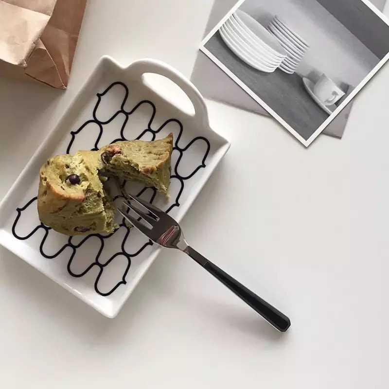 【家居】ins 風少女手柄方形簡約小餐盤