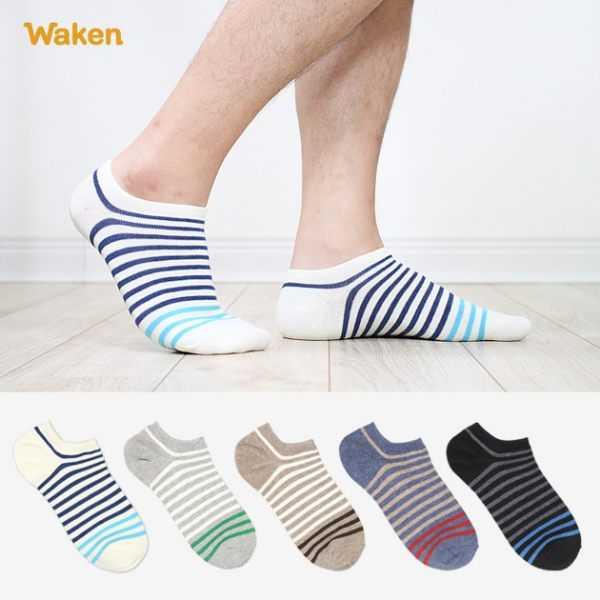 【Waken威肯棉襪】精梳棉條紋船型襪 6雙組