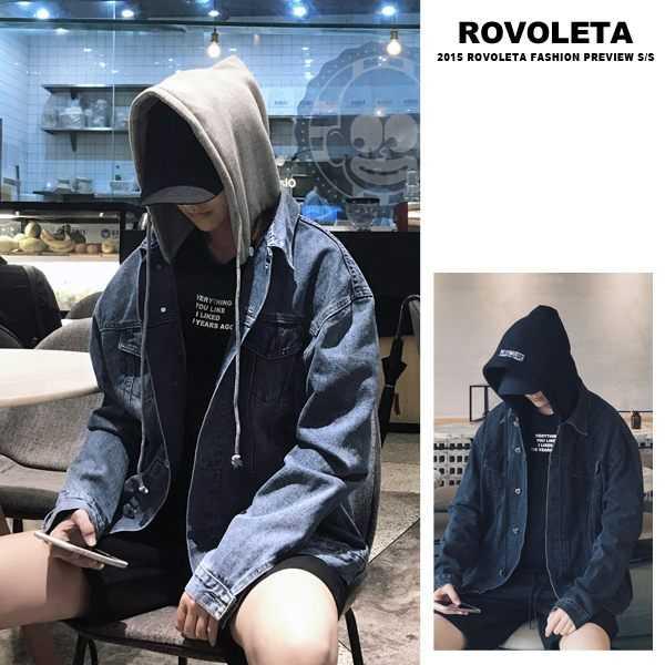 【ROVOLETA】落肩連帽牛仔外套 防風外套(EV-249-J06)