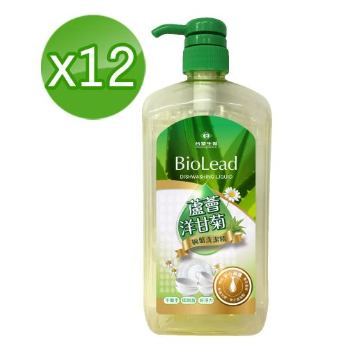 《台塑生醫》BioLead蘆薈洋甘菊碗盤洗潔精1000g (12瓶/組)+贈洗衣粉40g*5小包