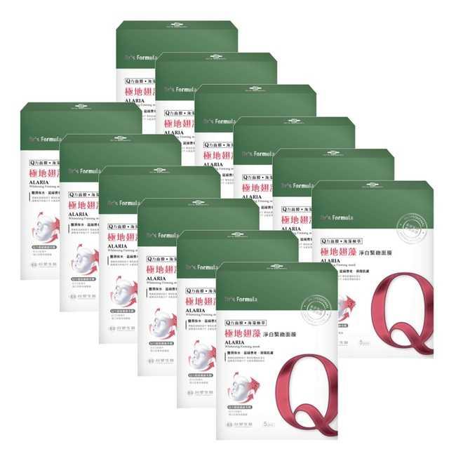 《台塑生醫》Dr's Formula極地翅藻淨白緊緻面膜(5片裝)*12盒入+贈洗沐隨機12g*5包