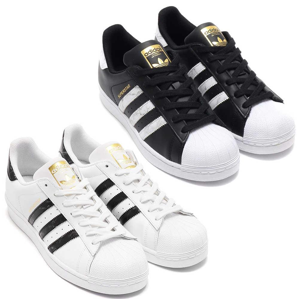 Adidas Superstar 金標 男鞋 女鞋 休閒 金標 大理石紋路 白/黑【運動世界】