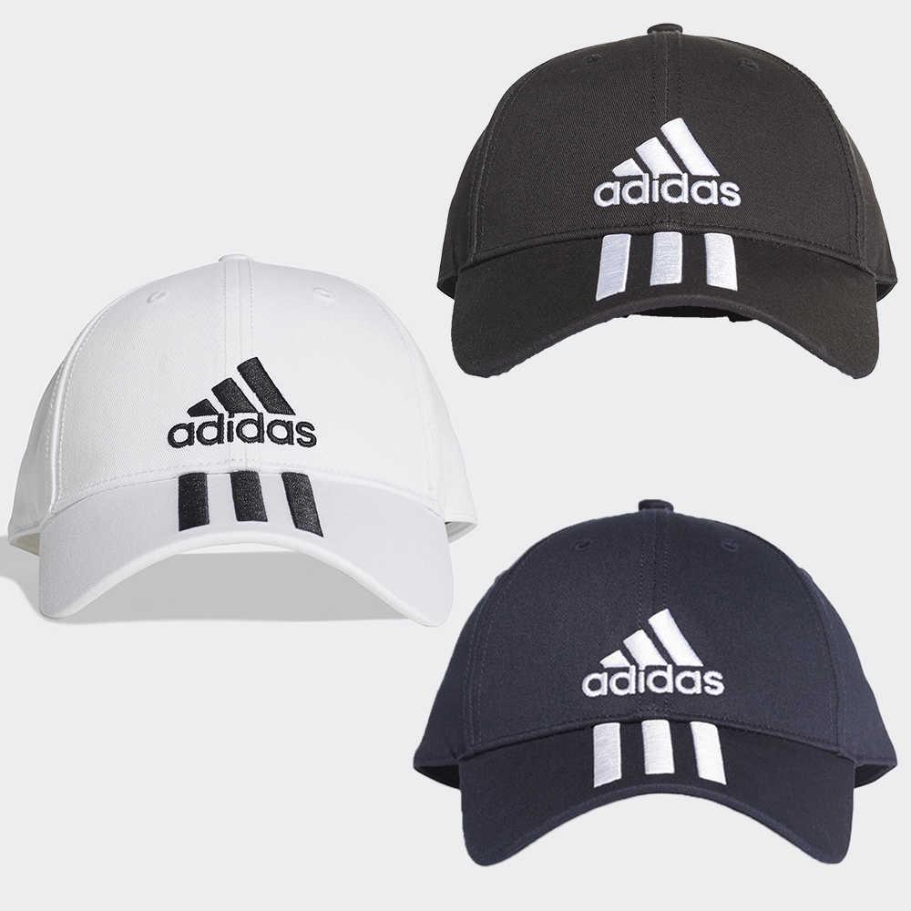 Adidas 6-Panel 帽子 老帽 休閒 三條線 黑 / 白/ 深藍【運動世界】