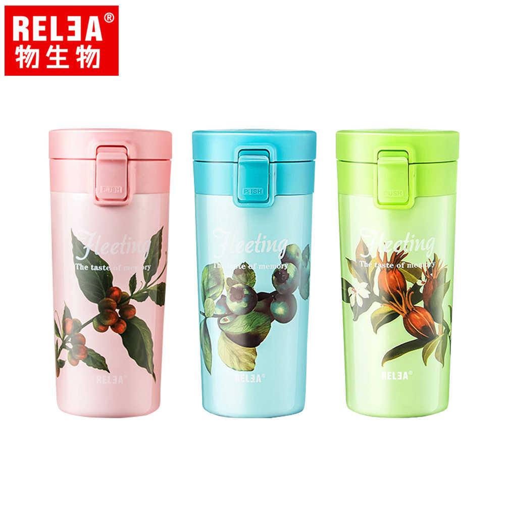 【香港RELEA物生物】410ml花時彈蓋不鏽鋼保溫杯(三色)