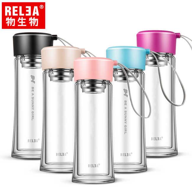 【香港RELEA物生物】300ml漫舞雙層耐熱玻璃便攜隨身杯(五色)