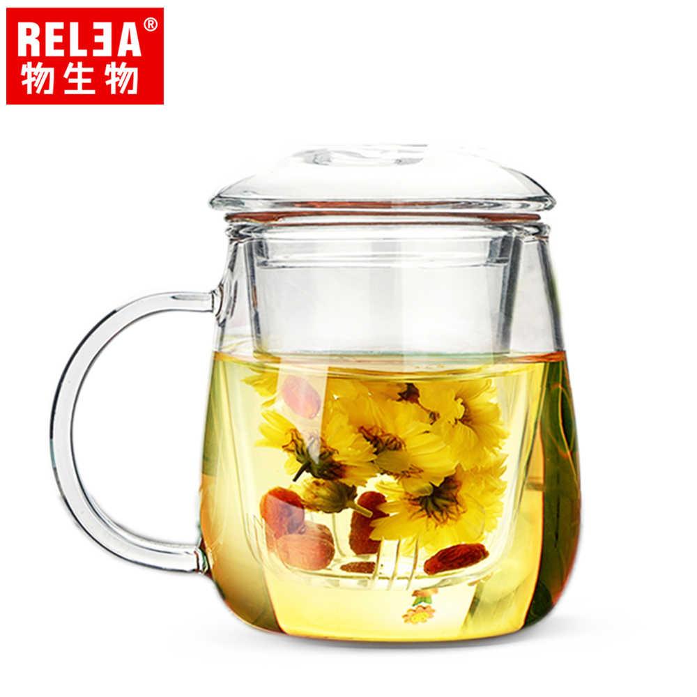 【香港RELEA物生物】500ml大蘑菇耐熱玻璃泡茶杯