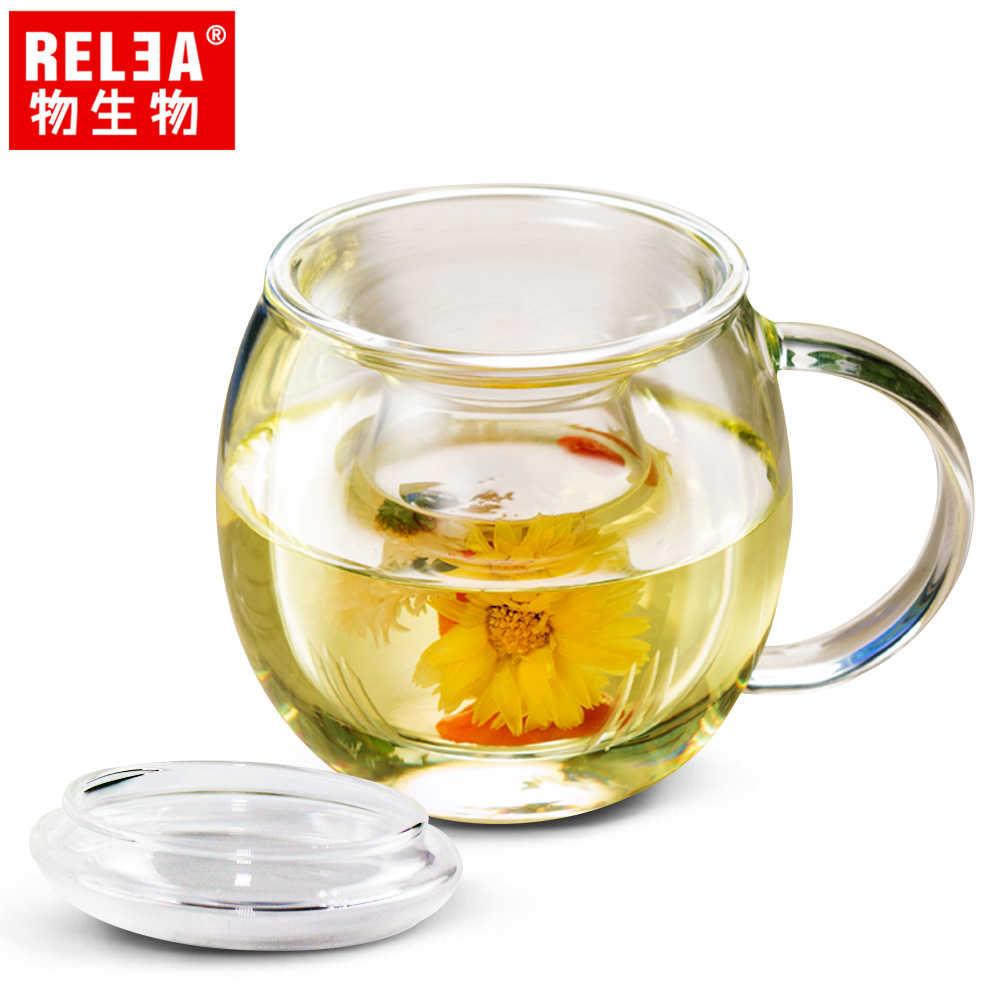 【香港RELEA物生物】370ml素心耐熱玻璃泡茶杯
