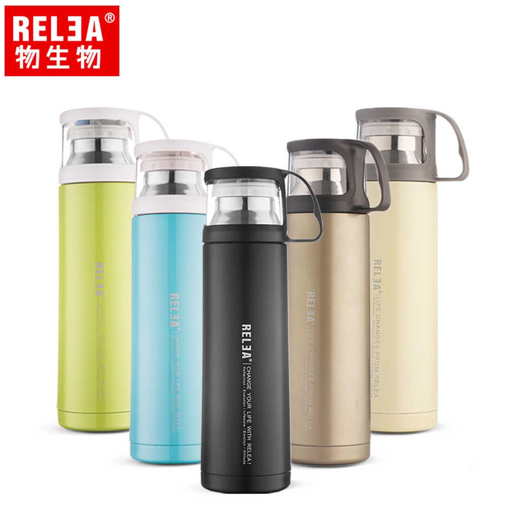 【香港RELEA物生物】450ml舒享雙層真空保溫保冷杯(五色)