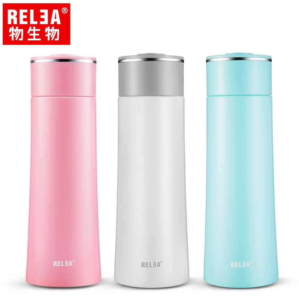 【香港RELEA物生物】400ml漫雪304不鏽鋼真空保溫杯(三色)
