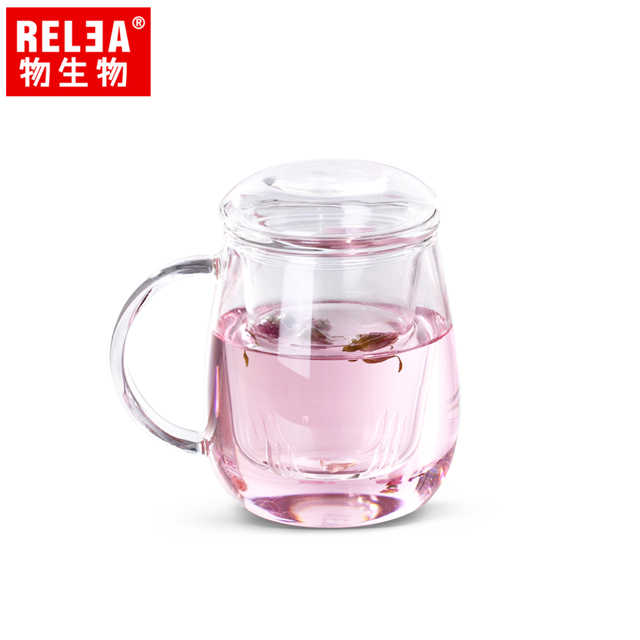【香港RELEA物生物】320ml小蘑菇耐熱玻璃泡茶杯