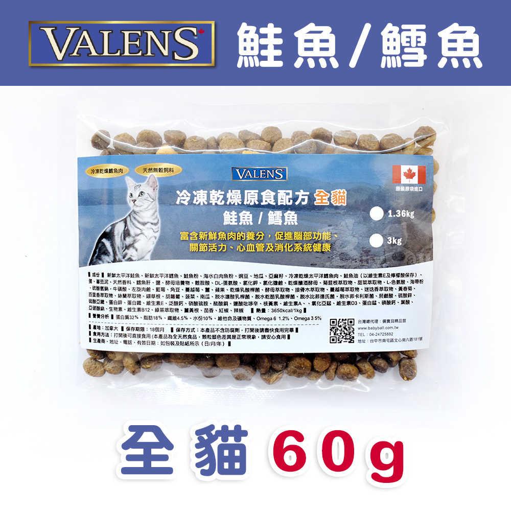 VALENS威倫  全貓-冷凍乾燥原食配方-鮭魚/鱈魚 外出包60g