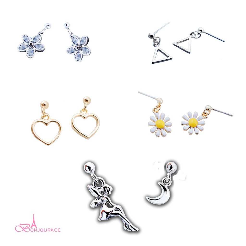 【Bonjouracc】韓國耳環 百搭小垂墜十入組 夾式 針式 925銀針 耳環