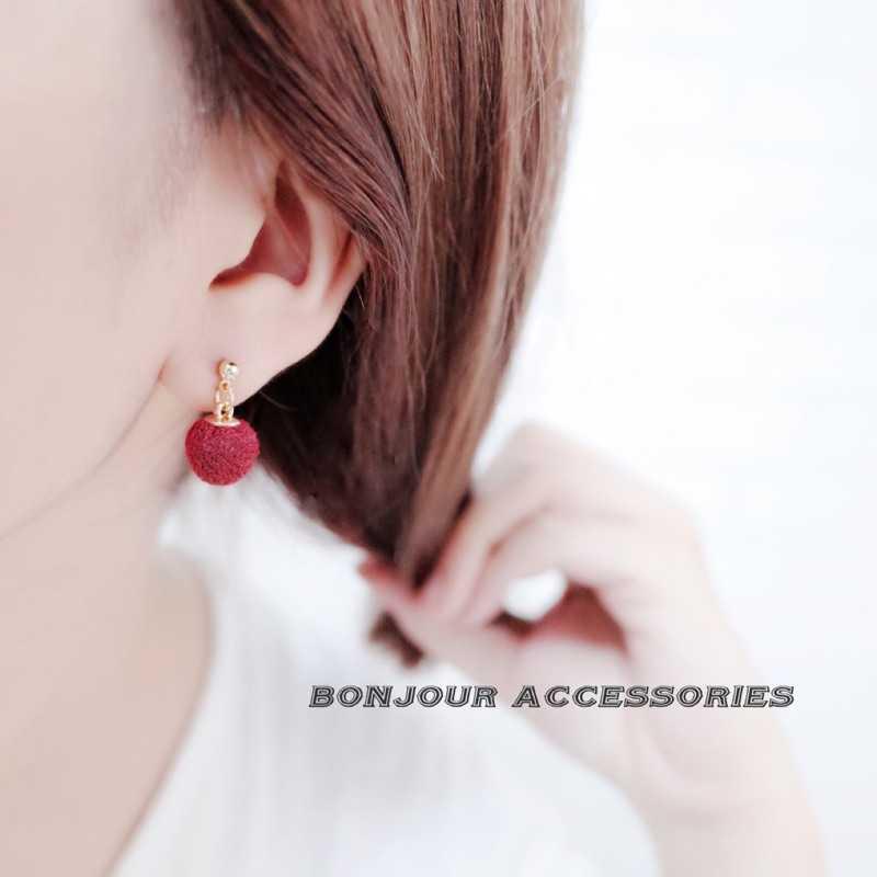 【Bonjouracc】韓國可愛小毛球 耳環 夾式 針式 925銀針