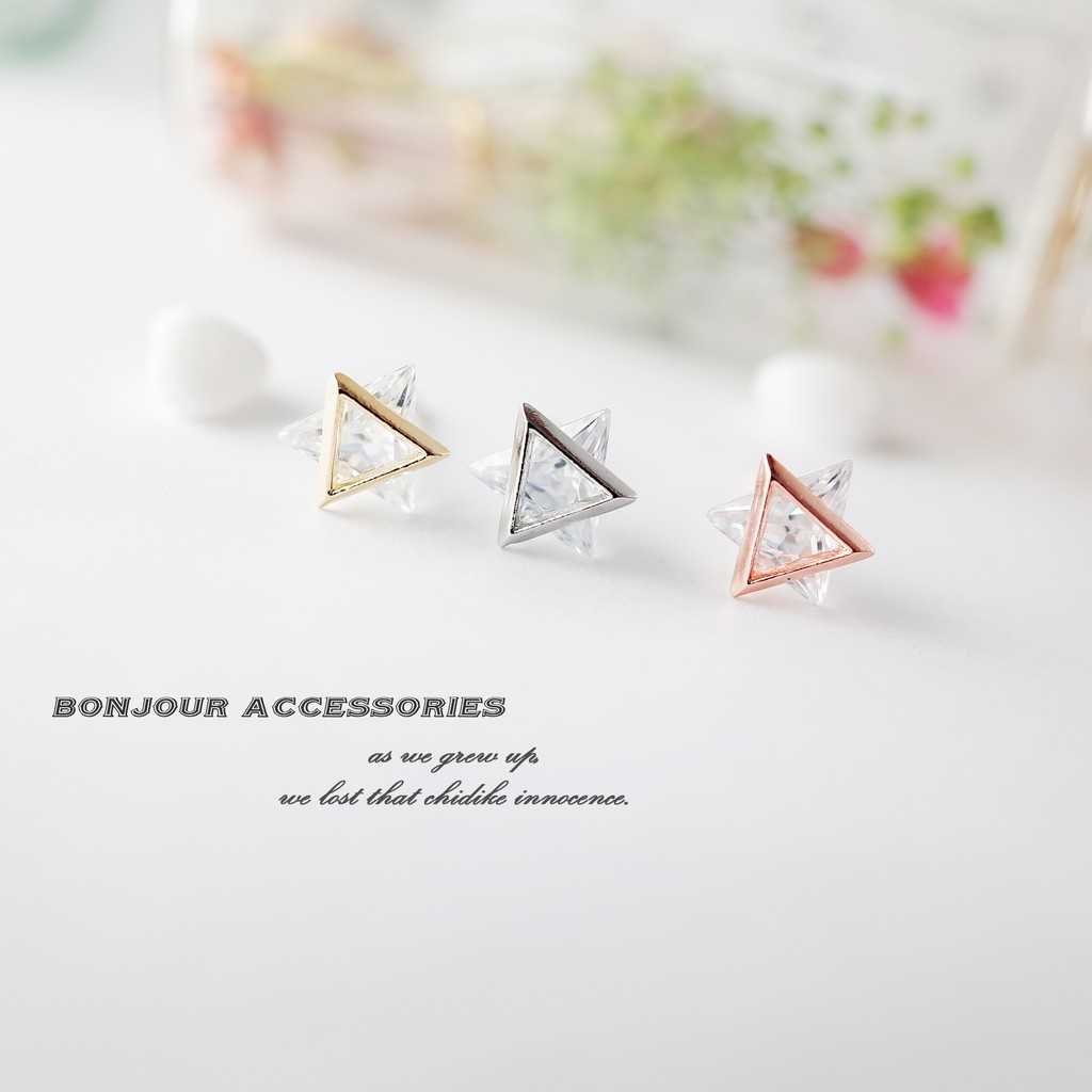 【Bonjouracc】韓國立體雙三角鑽 耳環