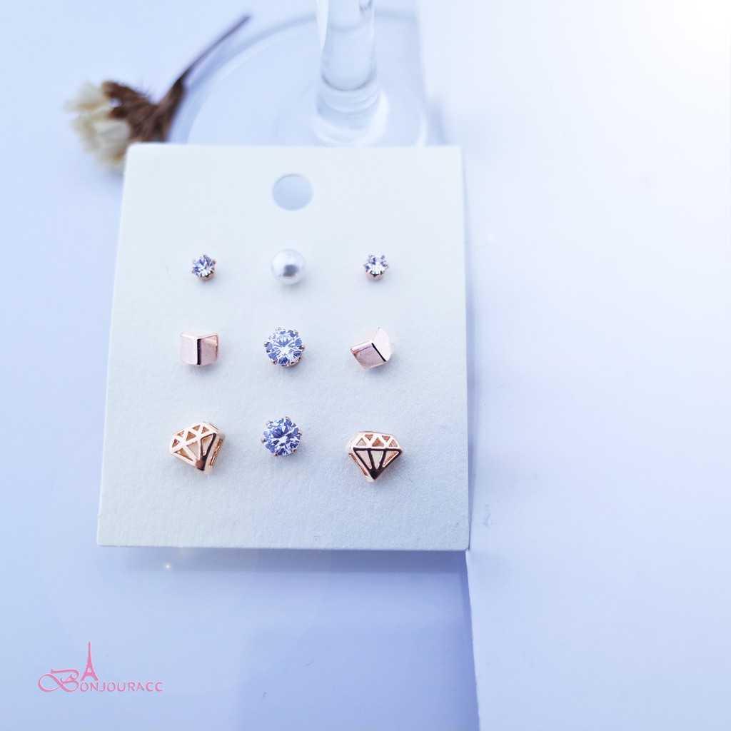 【Bonjouracc】韓國鑽石九件組 耳環