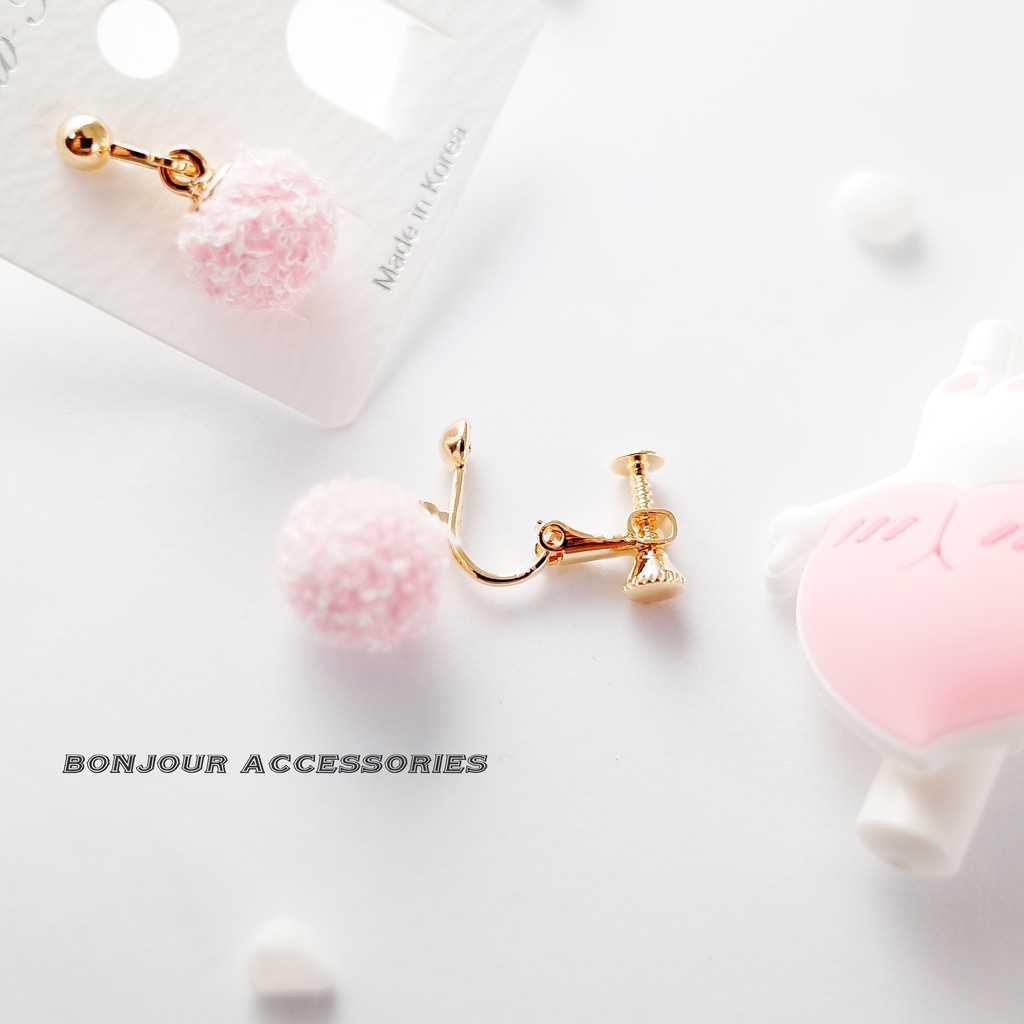 【Bonjouracc】5件包色組 韓國可愛小毛球 耳環 夾式 針式 925銀針