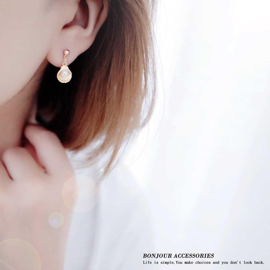 【Bonjouracc】韓國不對稱美人魚 耳環 夾式 針式