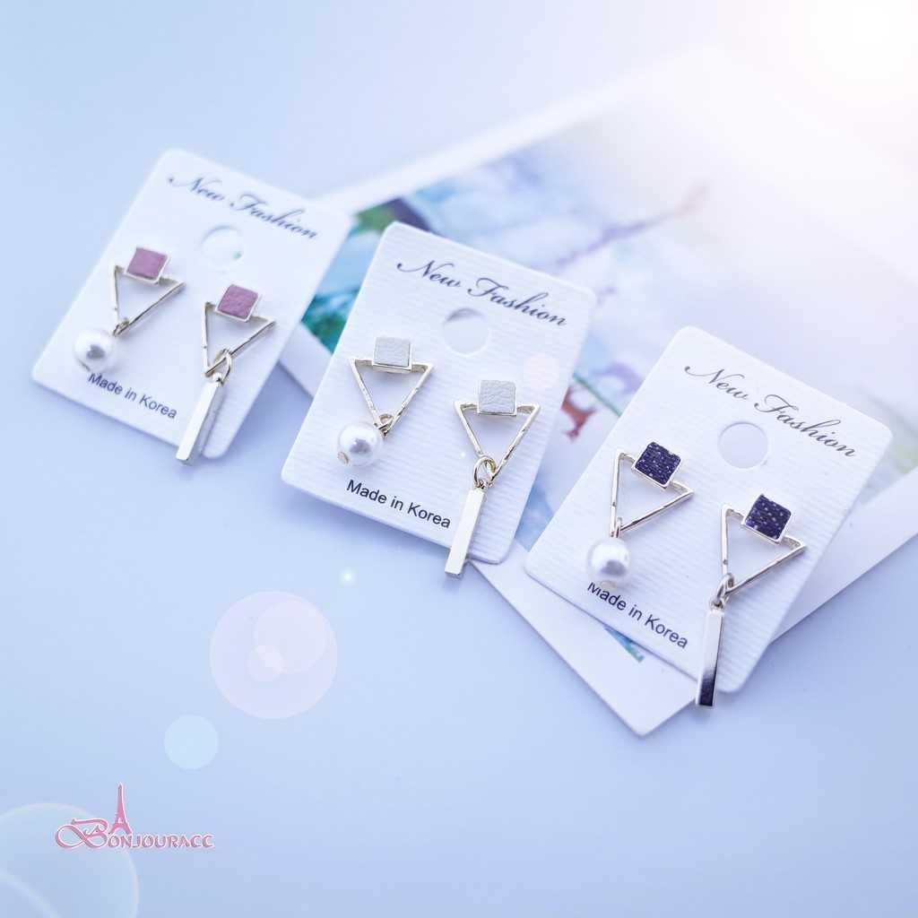 【Bonjouracc】韓國皮革不規則三角幾何不對稱 耳環