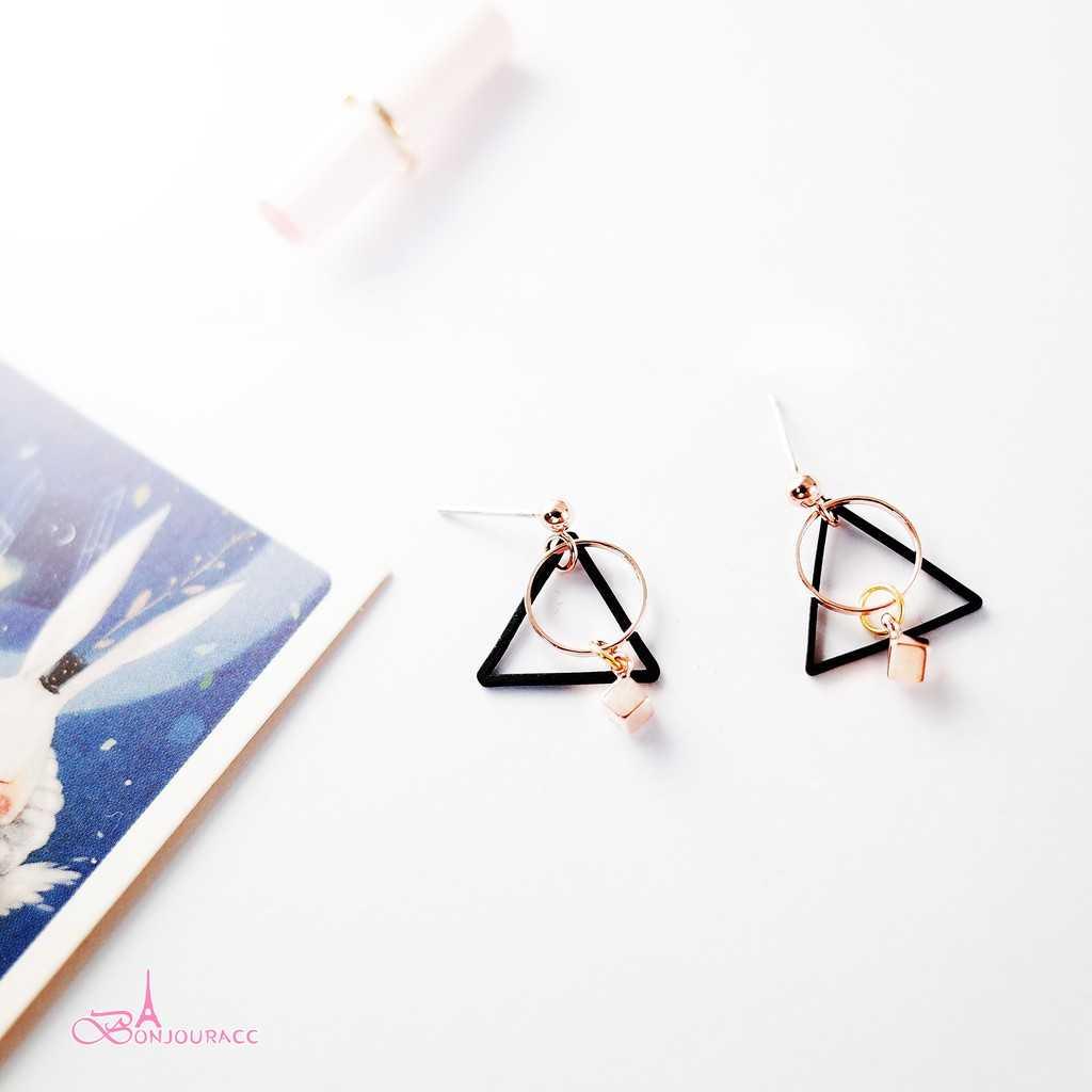 【Bonjouracc】韓國小三角幾何 耳環 夾式 針式 925銀針