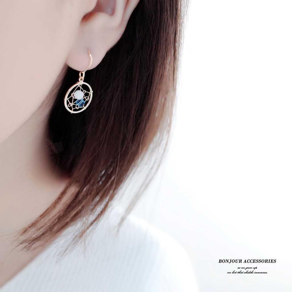 【Bonjouracc】韓國浪漫仿水晶捕夢網 耳環 夾式 針式