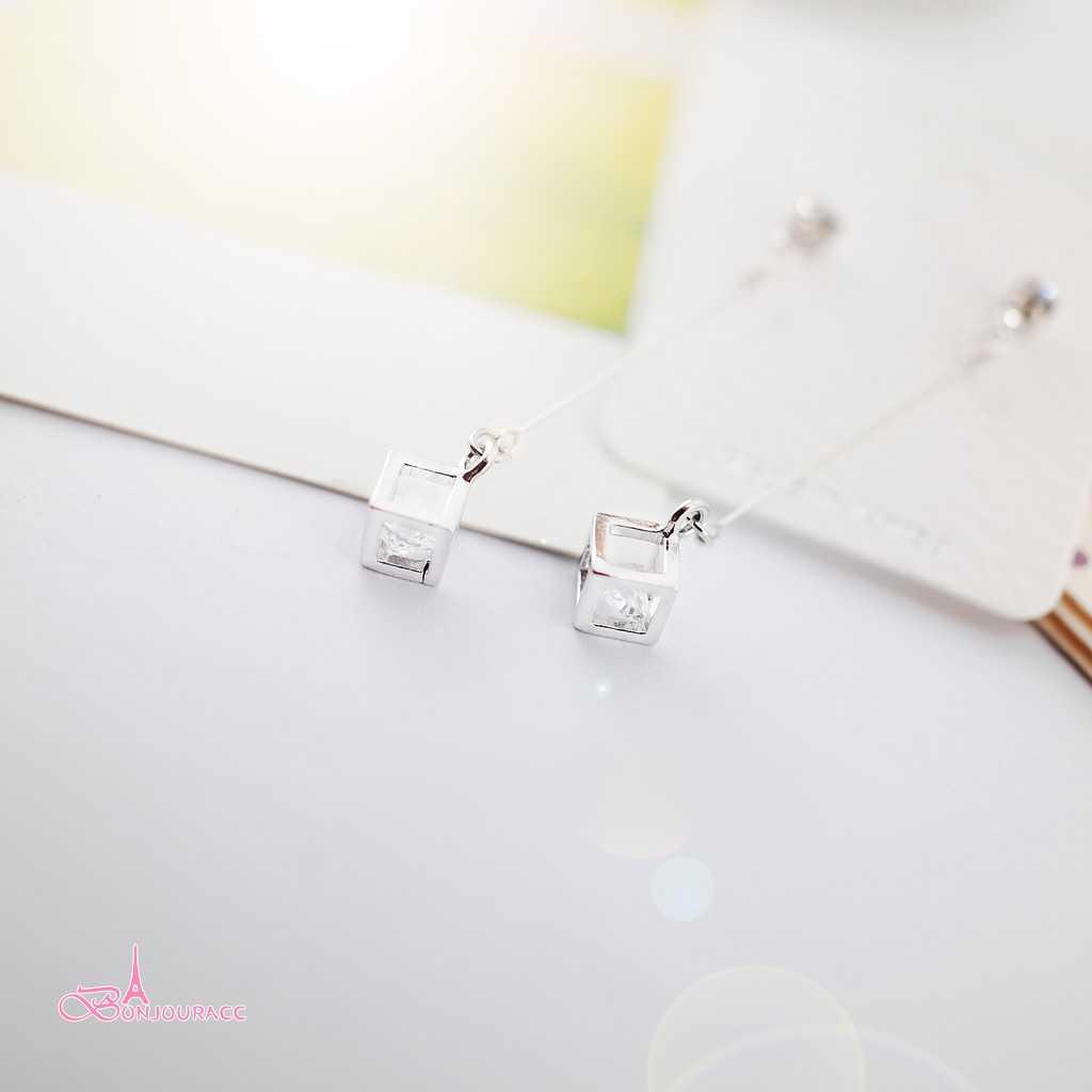 【Bonjouracc】韓國垂墜小立體小方塊耳環 夾式 針式