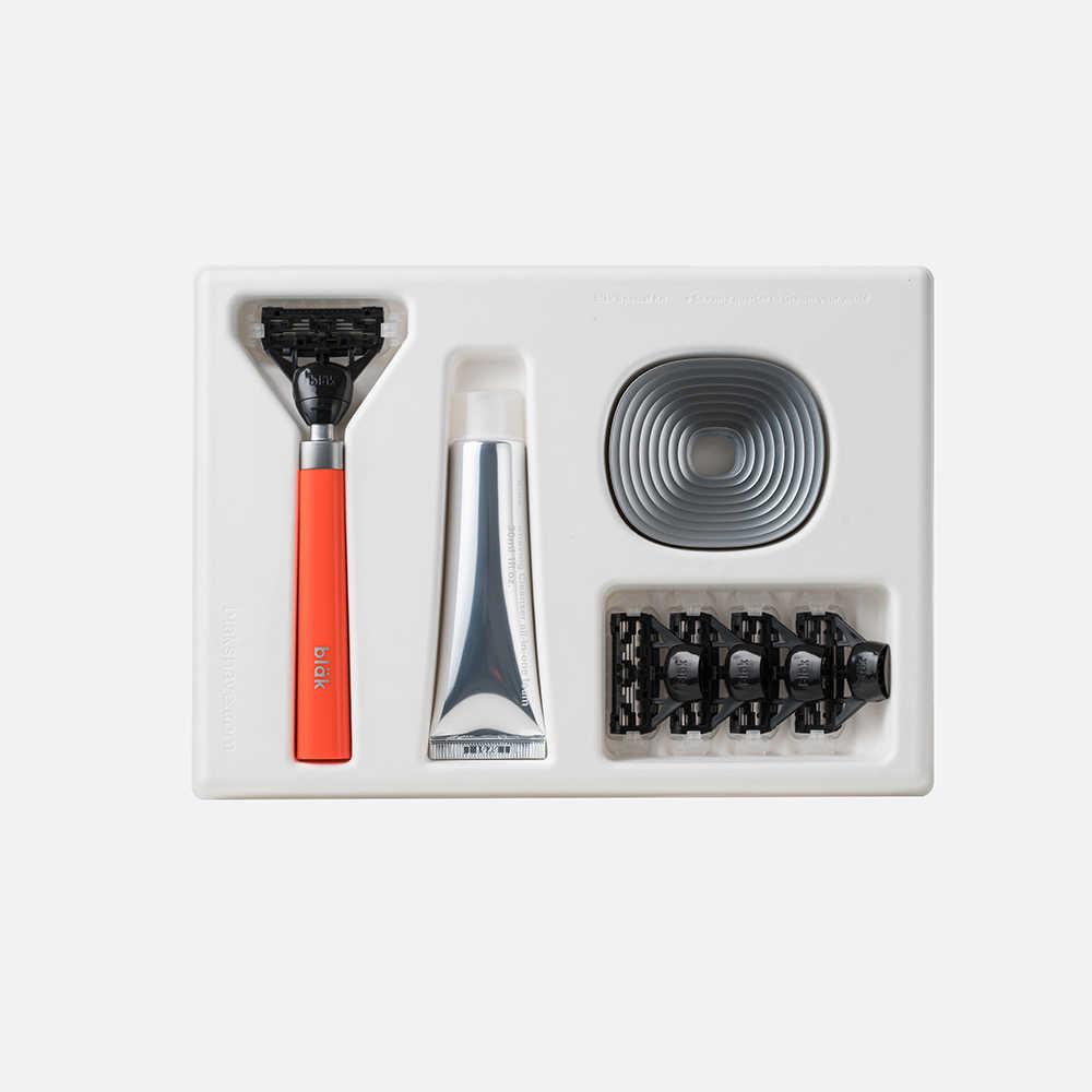 【韓國Bläk】blak經典刮鬍刀禮盒套組2.0版(夜光橙)