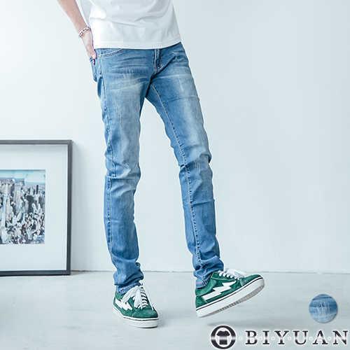 【OBIYUAN】牛仔褲 大彈性 高規 專櫃品 韓系刷色 鬼洗 長褲 共1色 現+預【P2120】