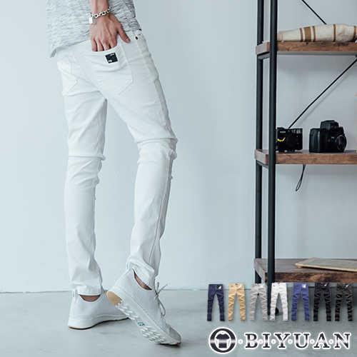 【OBIYUAN】皮標超彈力工作褲韓版貼身素面休閒褲 共7色 現+預【HK4205】