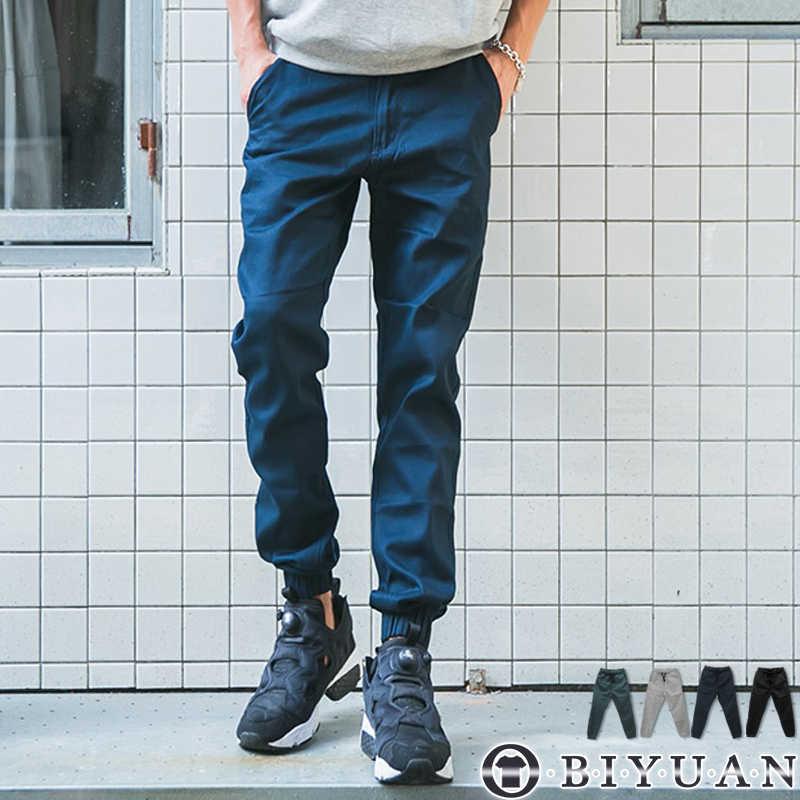 【OBIYUAN】獨家訂製 束口褲 素面 抽繩 休閒褲 長褲 共4色 現+預【SP4163】