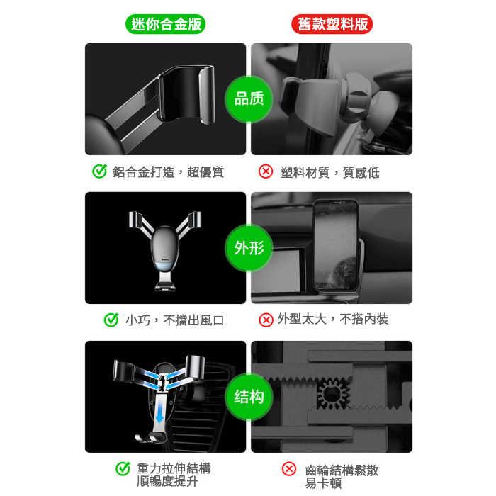 Baseus倍思 最新款 迷你金屬 重力車用支架 冷氣出風口手機架 重力車架載 鋁合金車用手機夾