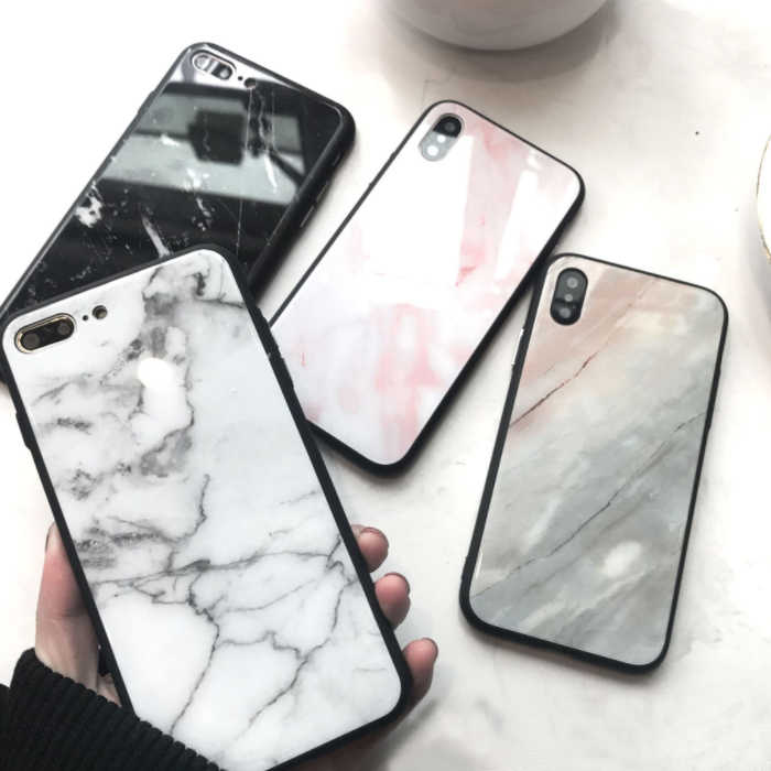 大理石紋手機殼 黑邊玻璃殼 IphoneX/Xs/XR/XsMax I6 I6s I7 I8保護殼