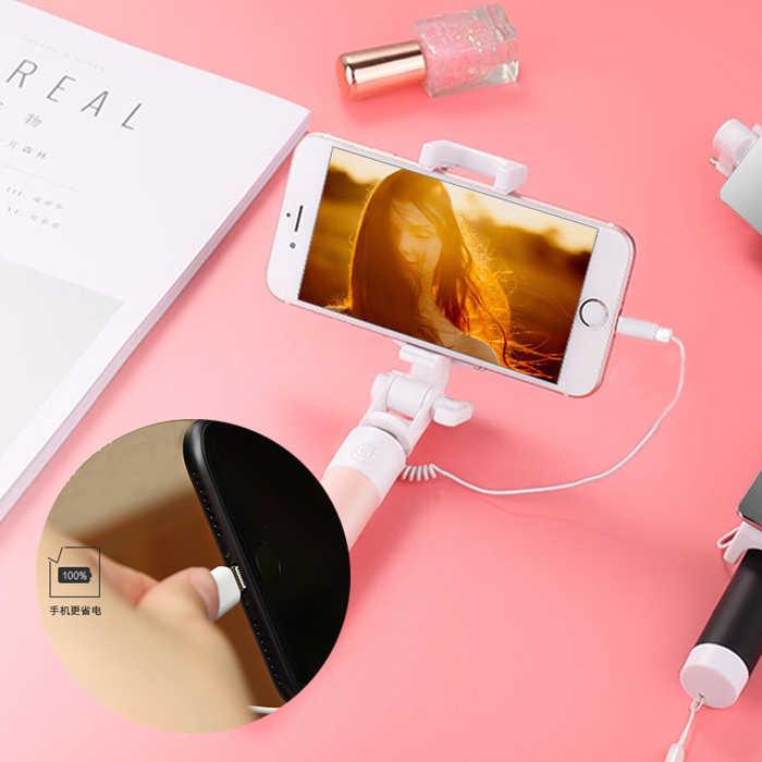 蘋果iPhone手機專用 自拍桿 線控自拍桿+旋轉自拍鏡 自拍神器 直插充電孔 折疊帶鏡子 縮伸自拍