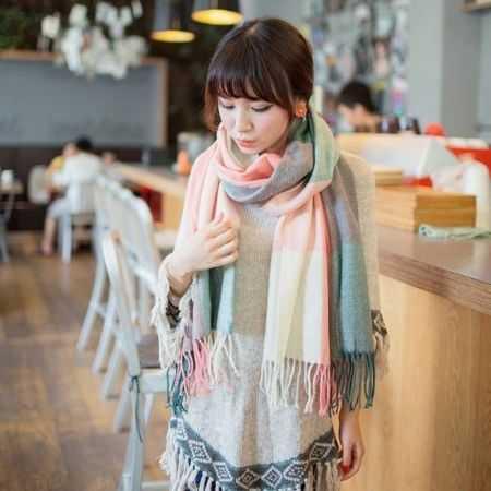 [CP值超高] 格子圍巾 仿羊絨 圍巾 圍脖 披肩 保暖 【RS303】