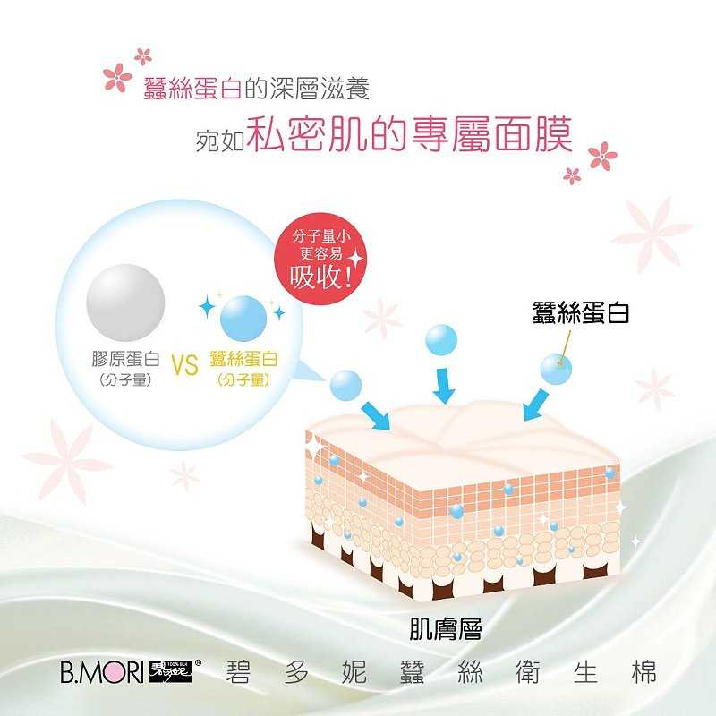 B.MORI碧多妮蠶絲衛生棉/日用(24cm) (10片入)  超級輕柔薄透 瞬吸乾爽