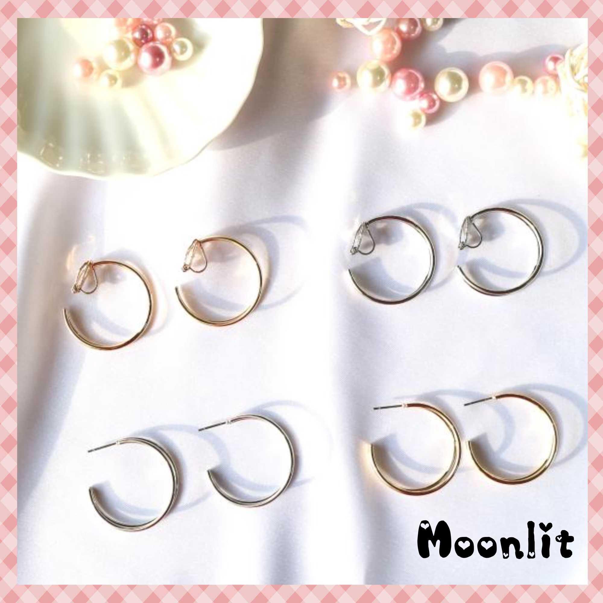 【月飾戒★Moonlit】現貨♥雙C圈 耳針 耳環