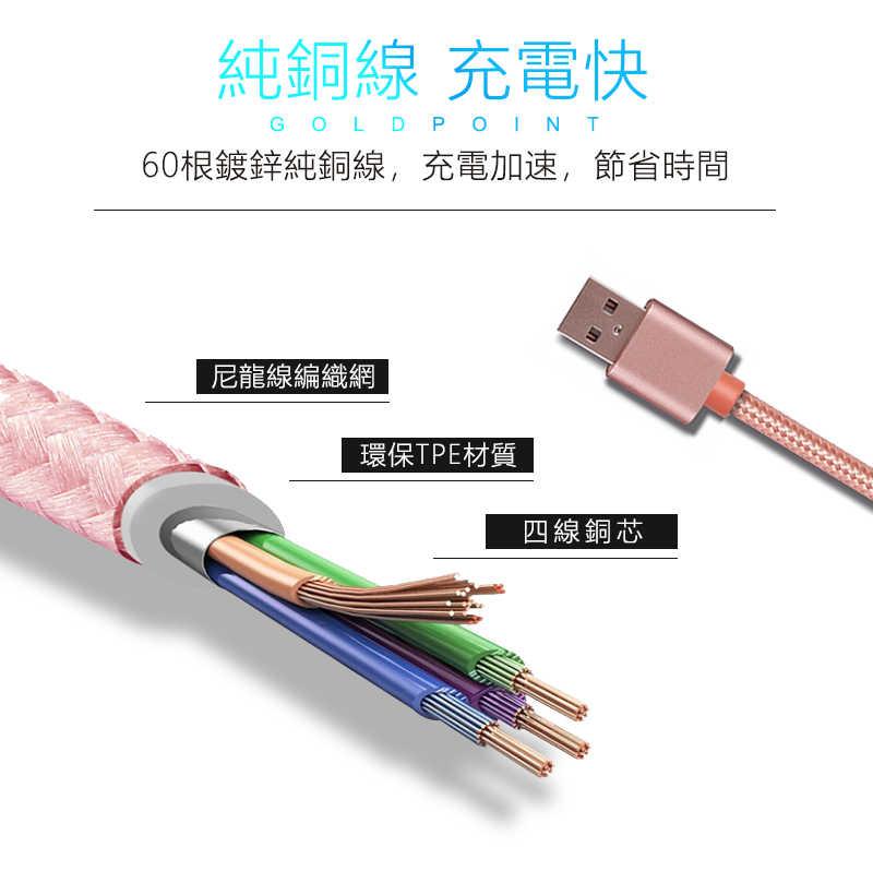 三合一充電線,適用蘋果&安卓&Type C各種手機,一條抵三條,全銅線芯充電加速30%(粉色)