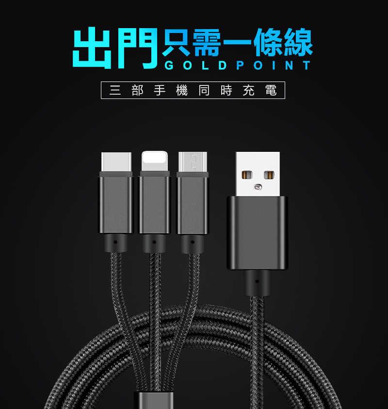 三合一充電線,適用蘋果&安卓&Type C各種手機,一條抵三條,全銅線芯充電加速30%(黑色)