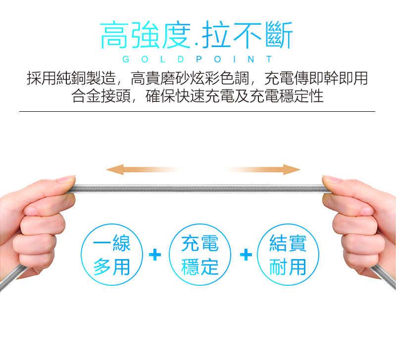 三合一充電線,適用蘋果&安卓&Type C各種手機,一條抵三條,全銅線芯充電加速30%(灰色)