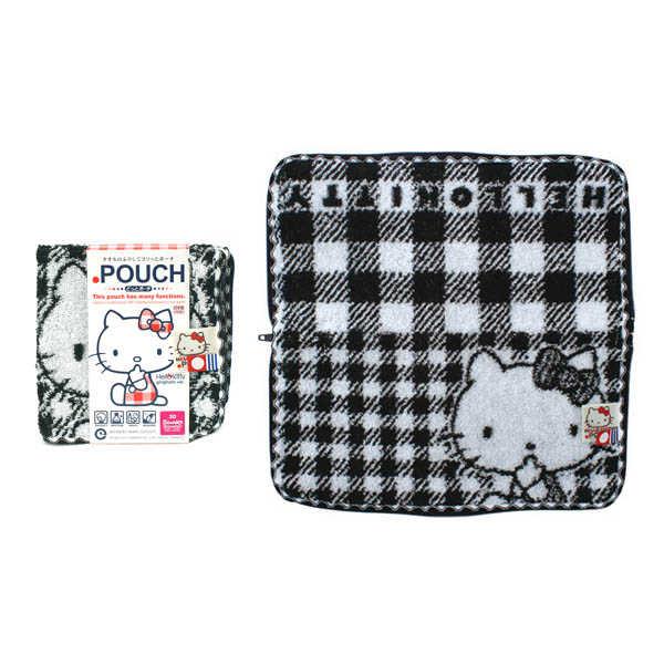 Hello Kitty 日本生活用品 PORCH 可吸水毛巾袋 Kitty凱蒂貓 黑白格紋 W