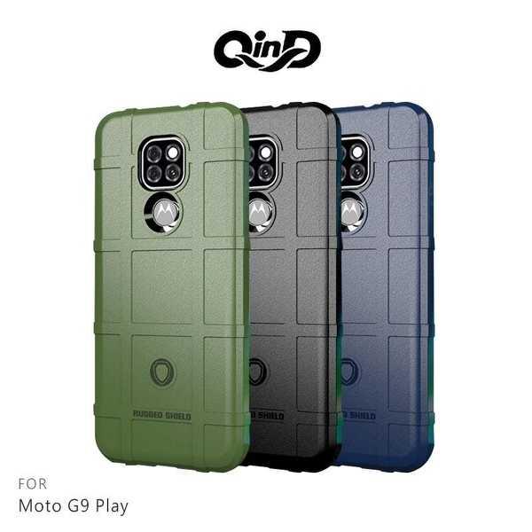 【愛瘋潮】QinD Moto G9 Play 戰術護盾保護套 背蓋式 手機殼 鏡頭加高 軟殼 保護殼 保護套