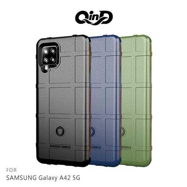 【愛瘋潮】QinD SAMSUNG Galaxy A42 5G 戰術護盾保護套 背蓋式 手機殼 鏡頭加高 軟殼 保護殼