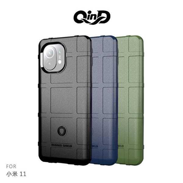 【愛瘋潮】 QinD 小米 11 5G 戰術護盾保護套 背蓋式 手機殼 鏡頭加高 手機殼 防摔殼