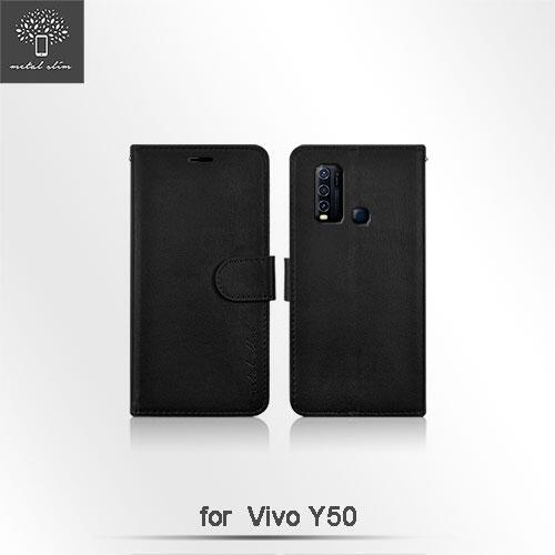 【愛瘋潮】Metal-Slim VIVO Y50 多工卡匣 磁扣側掀 TPU可立皮套
