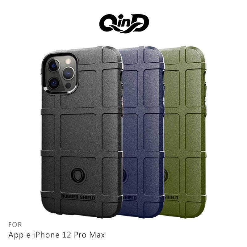 【愛瘋潮】QinD Apple iPhone 12 Pro Max (6.7吋) 戰術護盾保護套 鏡頭加高 保護套 手機