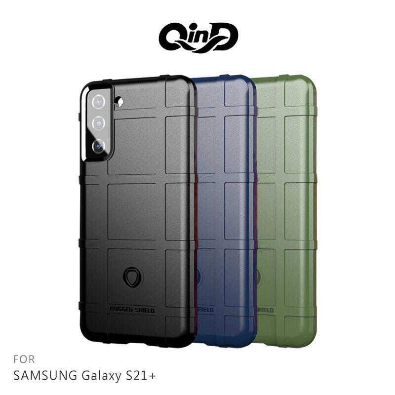【愛瘋潮】QinD SAMSUNG Galaxy S21+ 戰術護盾保護套 背蓋式 手機殼 鏡頭加高 保護套 手機殼