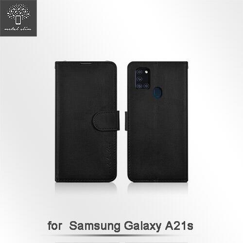 【愛瘋潮】Metal-Slim Samsung Galaxy A21s 多工卡匣 磁扣側掀 TPU可立皮套