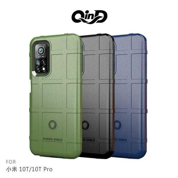 【愛瘋潮】 QinD 小米 10T/10T Pro 戰術護盾保護套 背蓋式 手機殼 鏡頭加高 軟殼 保護殼 保護套