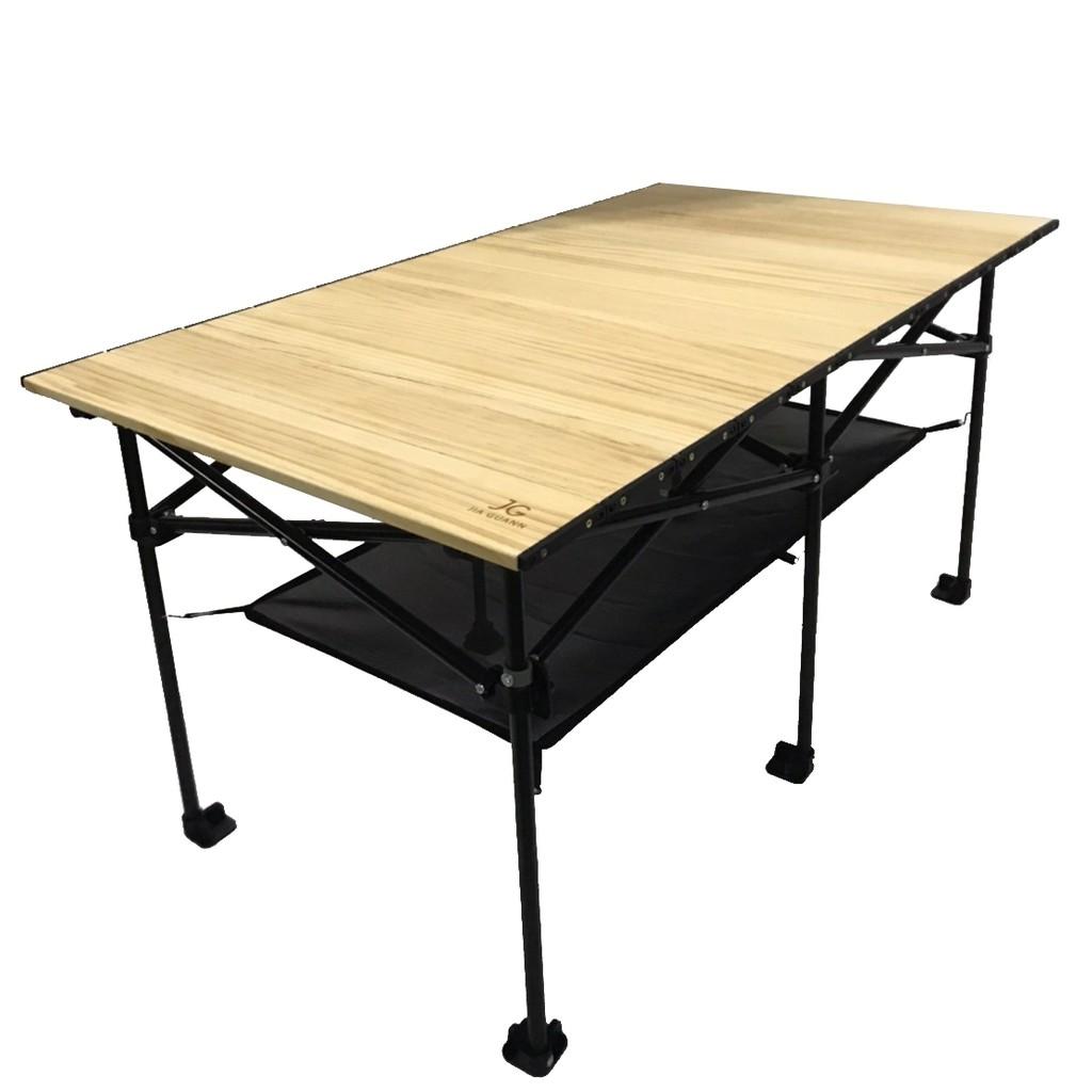 JG實木摺疊收納桌 長方桌 台灣製 桌子 會議桌 庭院桌 露營 伸縮桌 實木桌 蛋捲桌 【露戰隊】
